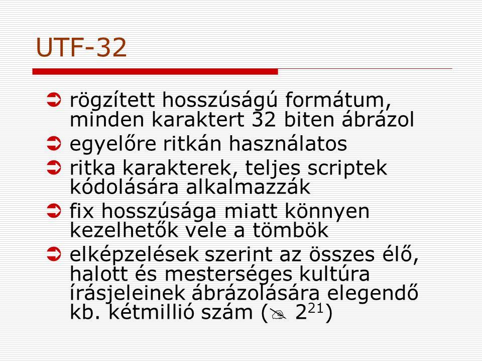 UTF-32 rögzített hosszúságú formátum, minden karaktert 32 biten ábrázol. egyelőre ritkán használatos.