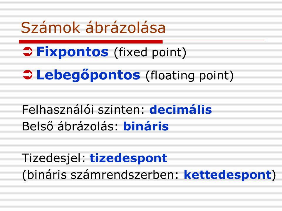 Számok ábrázolása Fixpontos (fixed point)