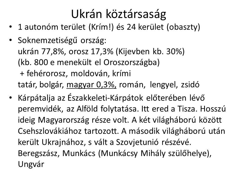Ukrán köztársaság 1 autonóm terület (Krím!) és 24 kerület (obaszty)
