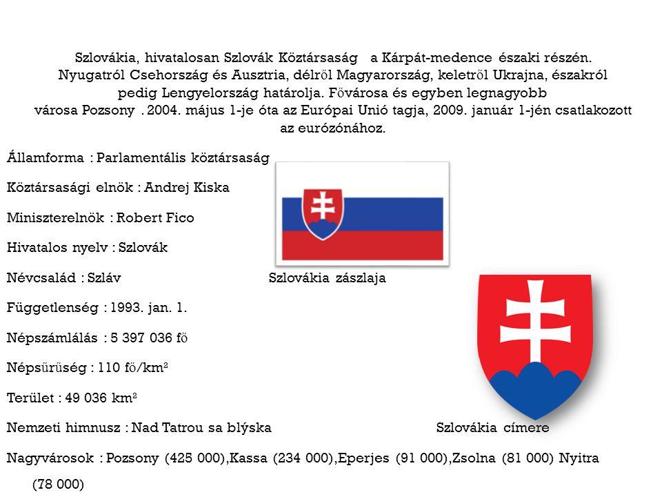 Szlovákia, hivatalosan Szlovák Köztársaság a Kárpát-medence északi részén. Nyugatról Csehország és Ausztria, délről Magyarország, keletről Ukrajna, északról pedig Lengyelország határolja. Fővárosa és egyben legnagyobb városa Pozsony . 2004. május 1-je óta az Európai Unió tagja, 2009. január 1-jén csatlakozott az eurózónához.