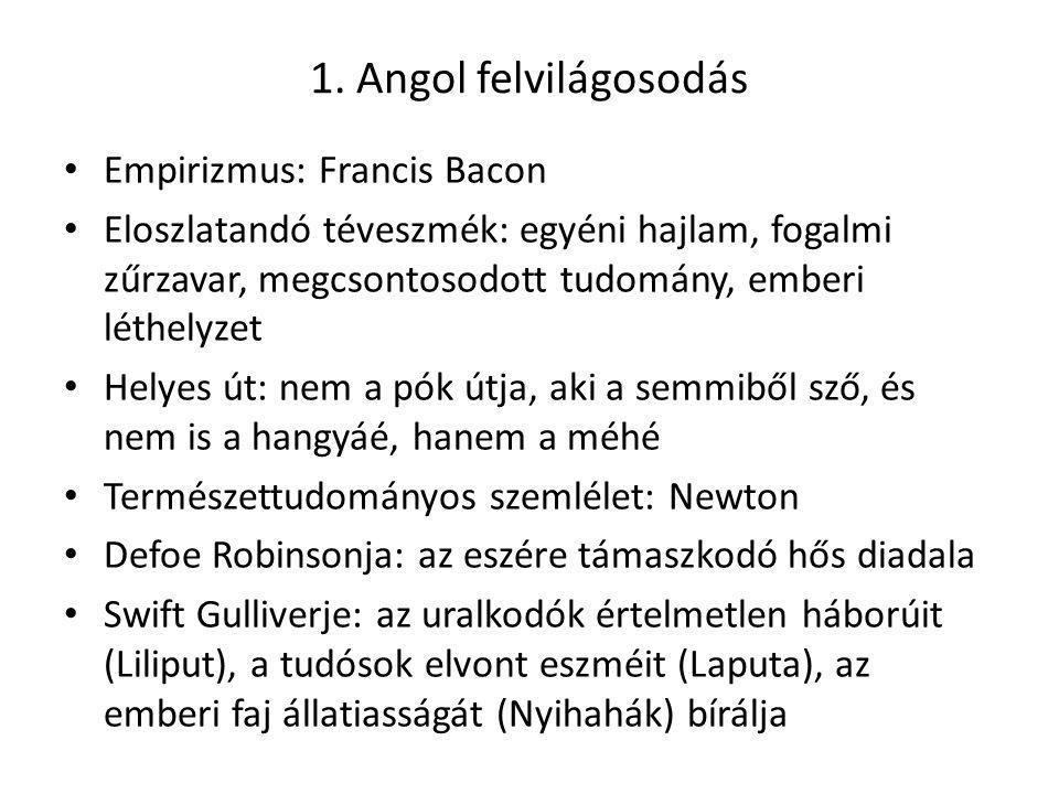 1. Angol felvilágosodás Empirizmus: Francis Bacon