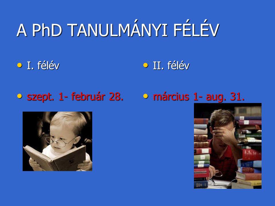 A PhD TANULMÁNYI FÉLÉV I. félév szept. 1- február 28. II. félév
