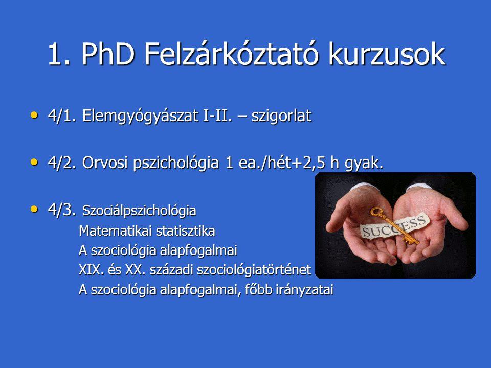 1. PhD Felzárkóztató kurzusok