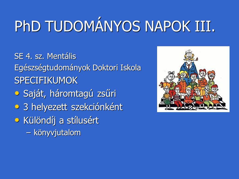 PhD TUDOMÁNYOS NAPOK III.