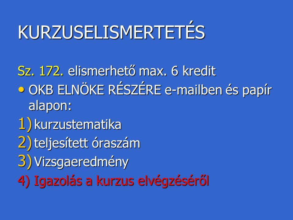 KURZUSELISMERTETÉS Sz. 172. elismerhető max. 6 kredit