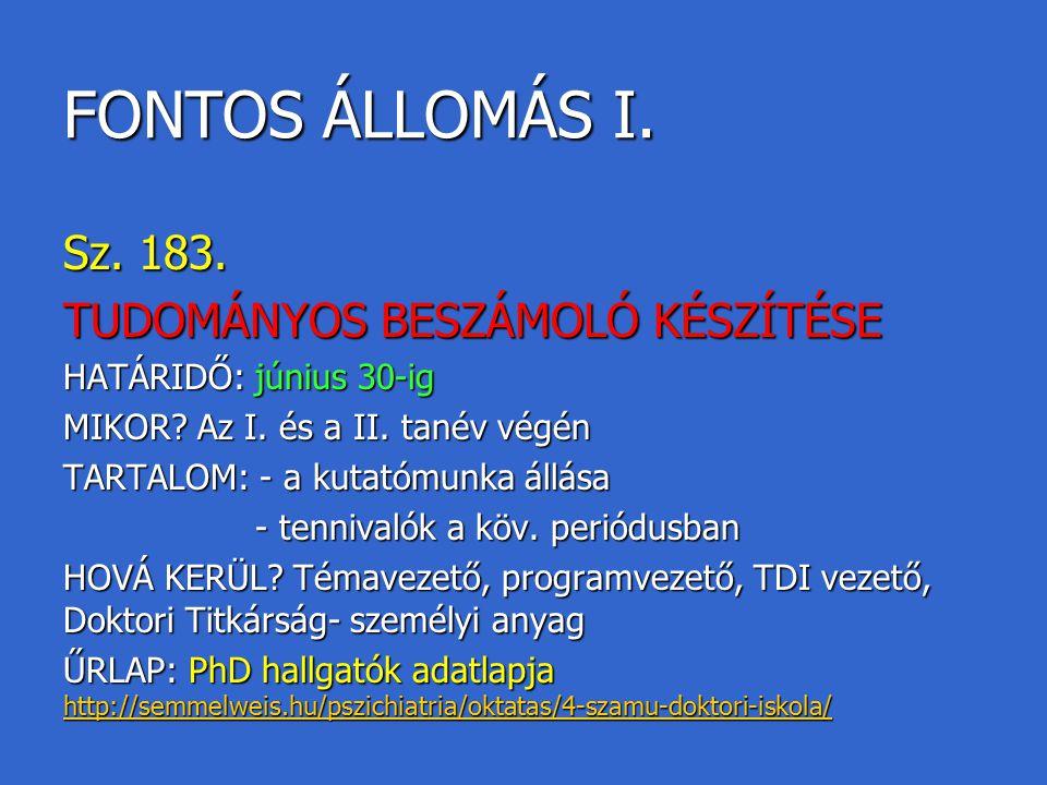 FONTOS ÁLLOMÁS I. Sz. 183. TUDOMÁNYOS BESZÁMOLÓ KÉSZÍTÉSE