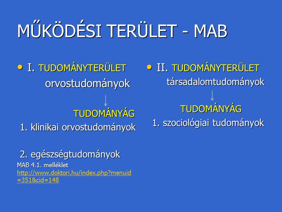 MŰKÖDÉSI TERÜLET - MAB I. TUDOMÁNYTERÜLET orvostudományok