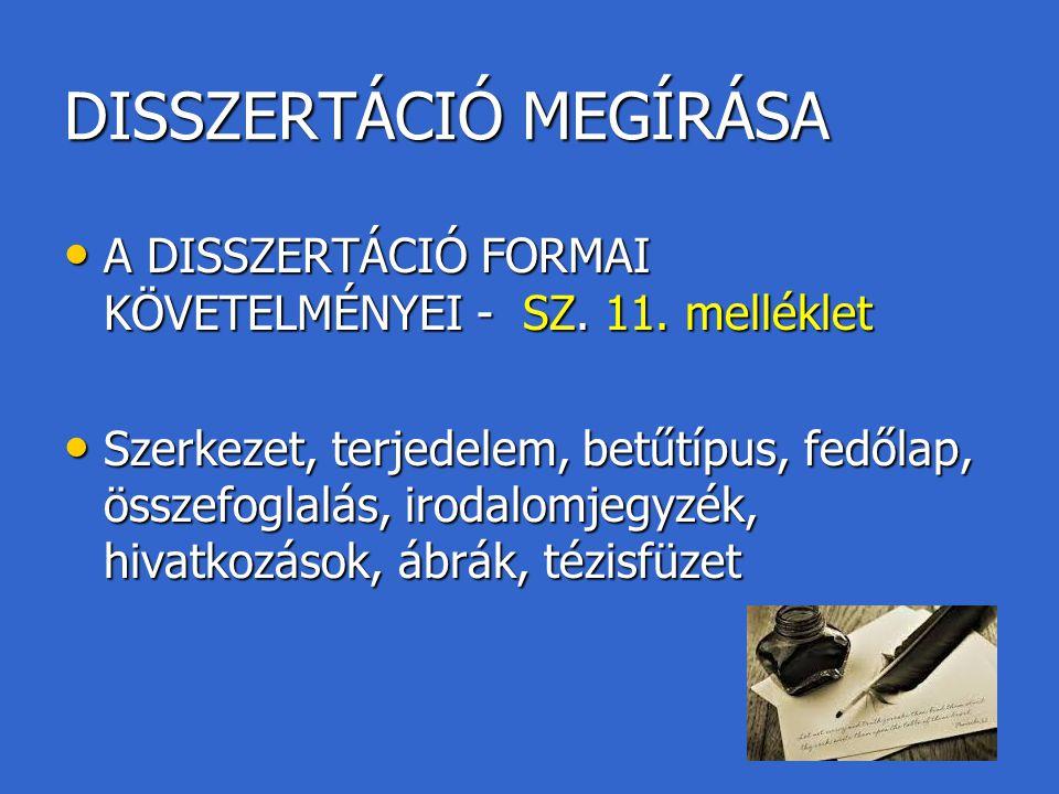 DISSZERTÁCIÓ MEGÍRÁSA