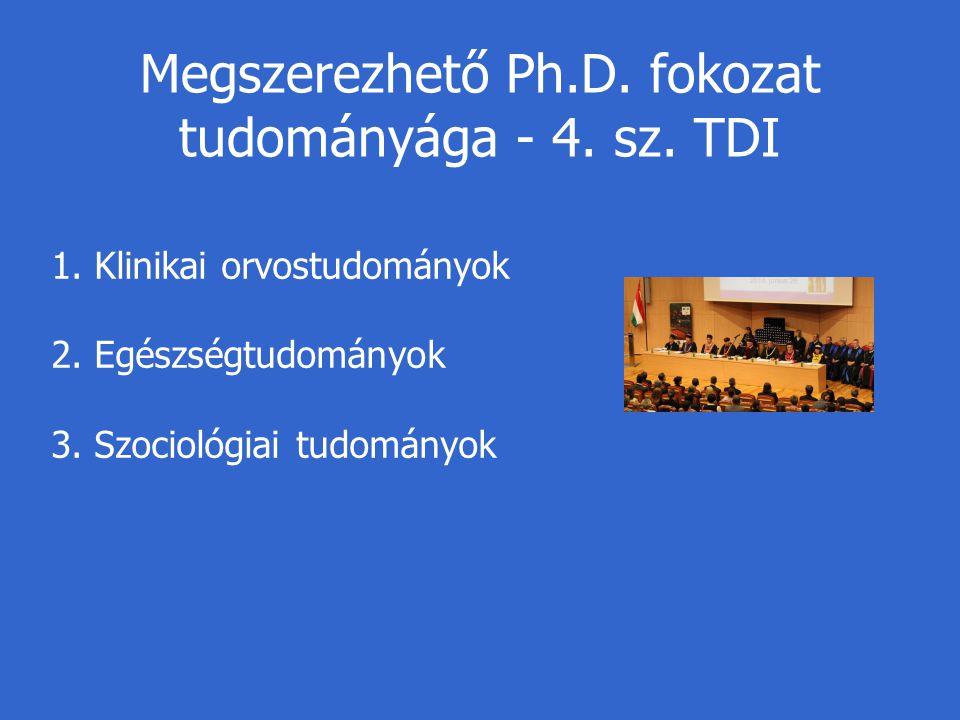 Megszerezhető Ph.D. fokozat tudományága - 4. sz. TDI