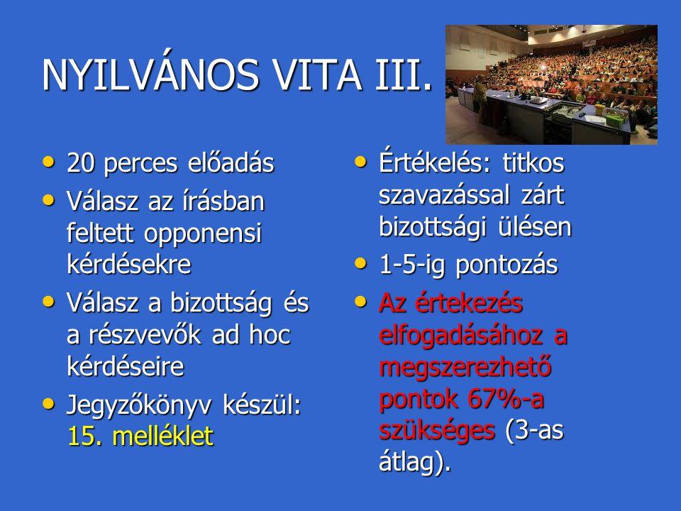 NYILVÁNOS VITA III. 20 perces előadás