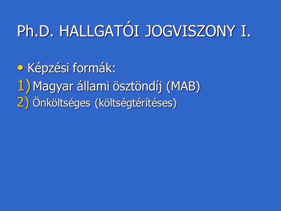 Ph.D. HALLGATÓI JOGVISZONY I.