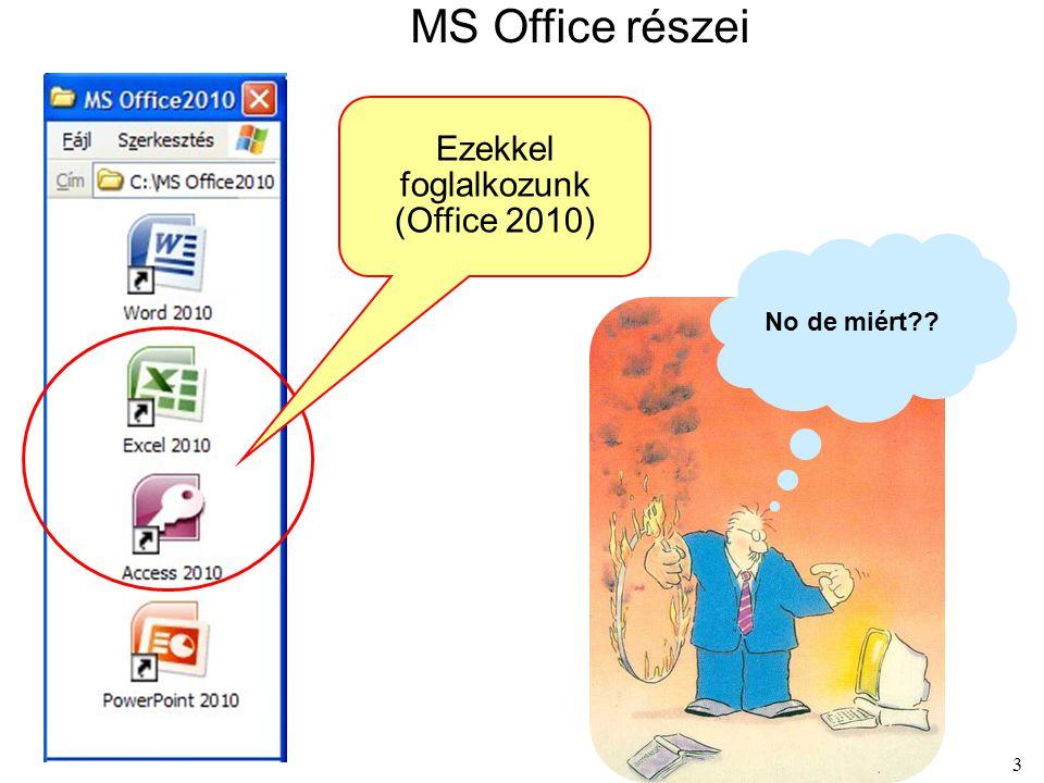 MS Office részei Ezekkel foglalkozunk (Office 2010) No de miért