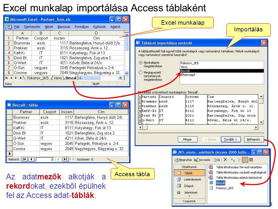 Excel munkalap importálása Access táblaként
