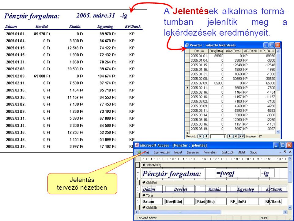 A Jelentések alkalmas formá-tumban jelenítik meg a lekérdezések eredményeit.