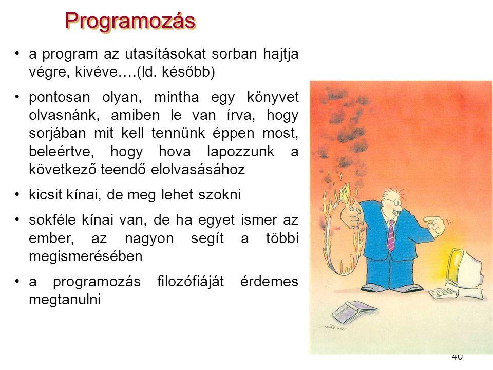 Programozás a program az utasításokat sorban hajtja végre, kivéve….(ld. később)