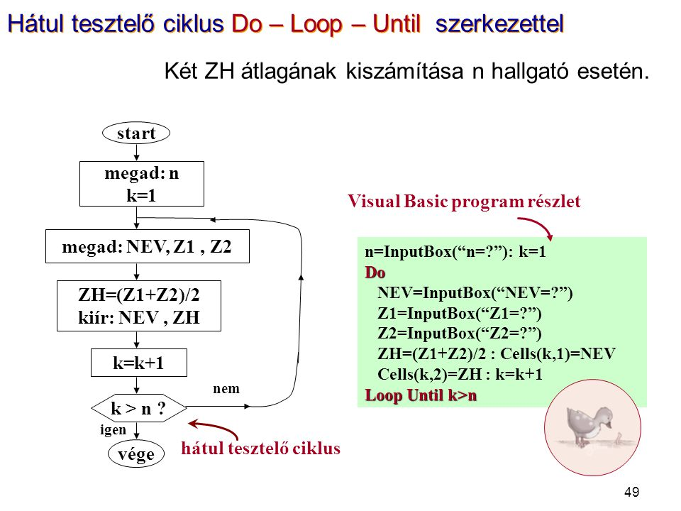 Visual Basic program részlet