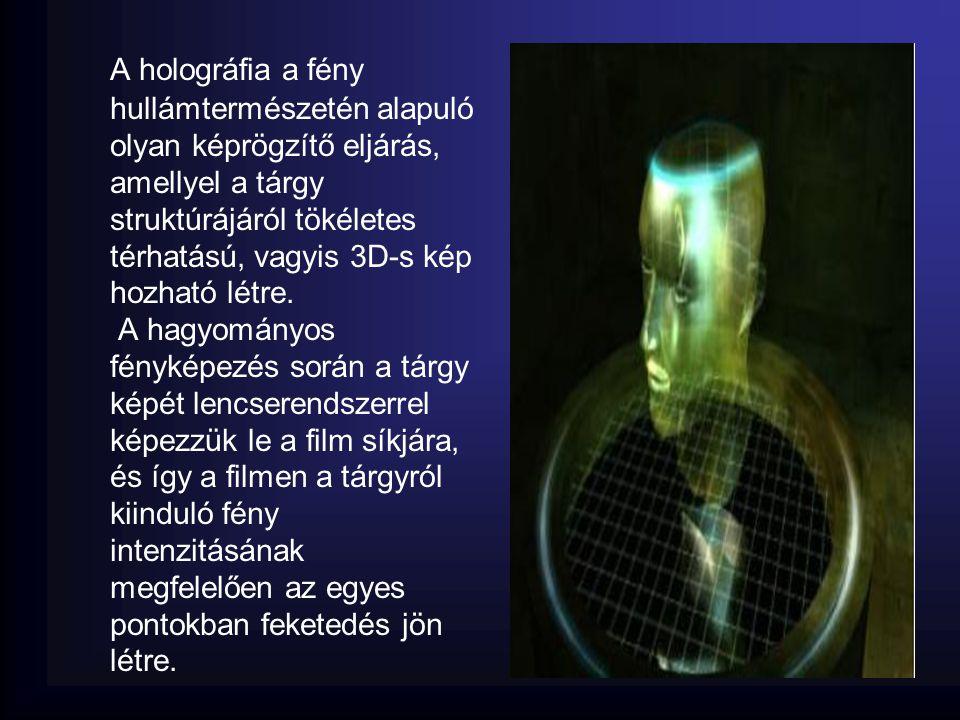 A holográfia a fény hullámtermészetén alapuló olyan képrögzítő eljárás, amellyel a tárgy struktúrájáról tökéletes térhatású, vagyis 3D-s kép hozható létre.