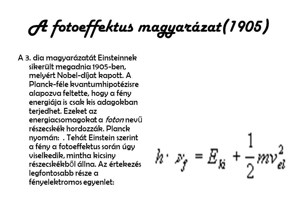 A fotoeffektus magyarázat(1905)