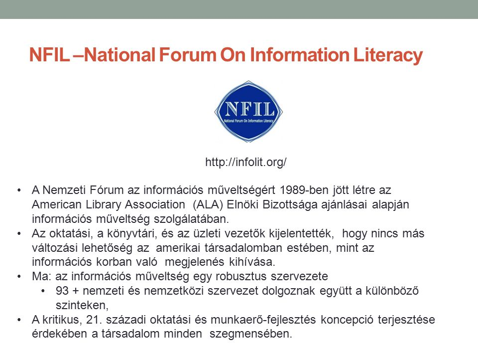 NFIL –National Forum On Information Literacy