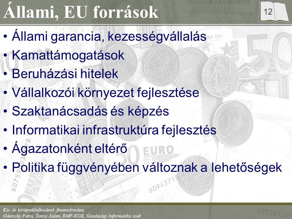 Állami, EU források Állami garancia, kezességvállalás Kamattámogatások