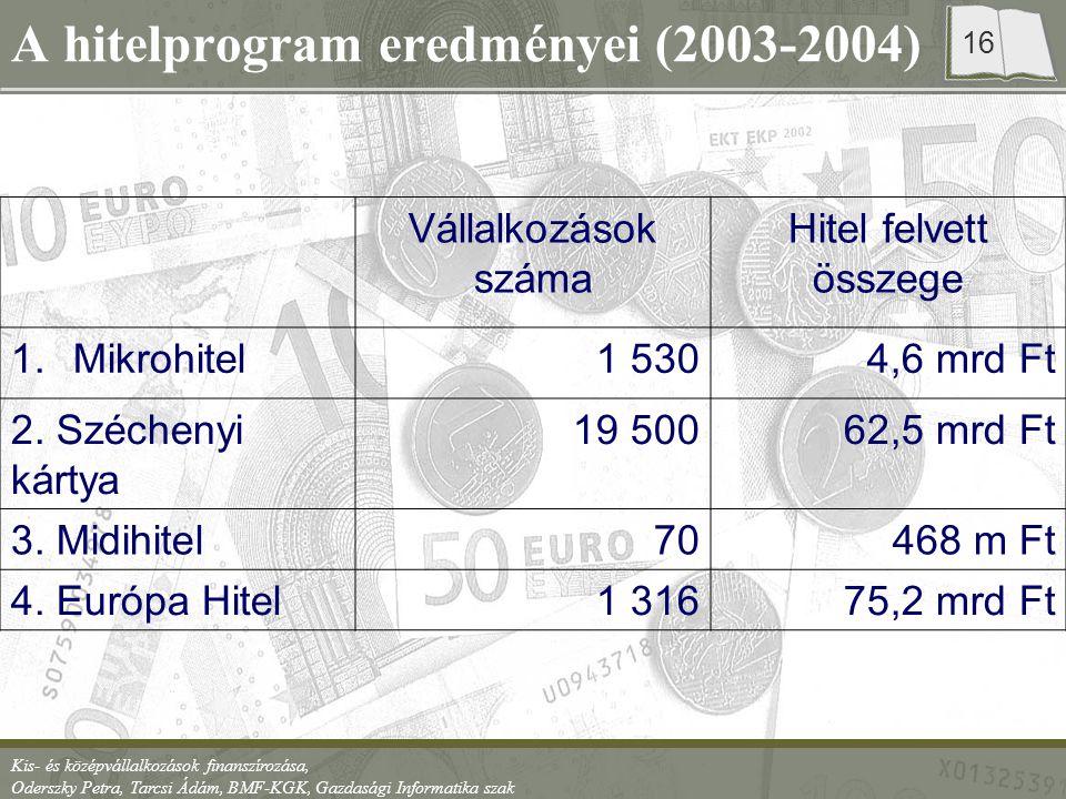 A hitelprogram eredményei (2003-2004)