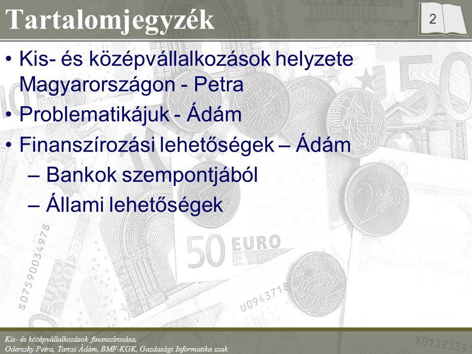 Tartalomjegyzék Kis- és középvállalkozások helyzete Magyarországon - Petra. Problematikájuk - Ádám.
