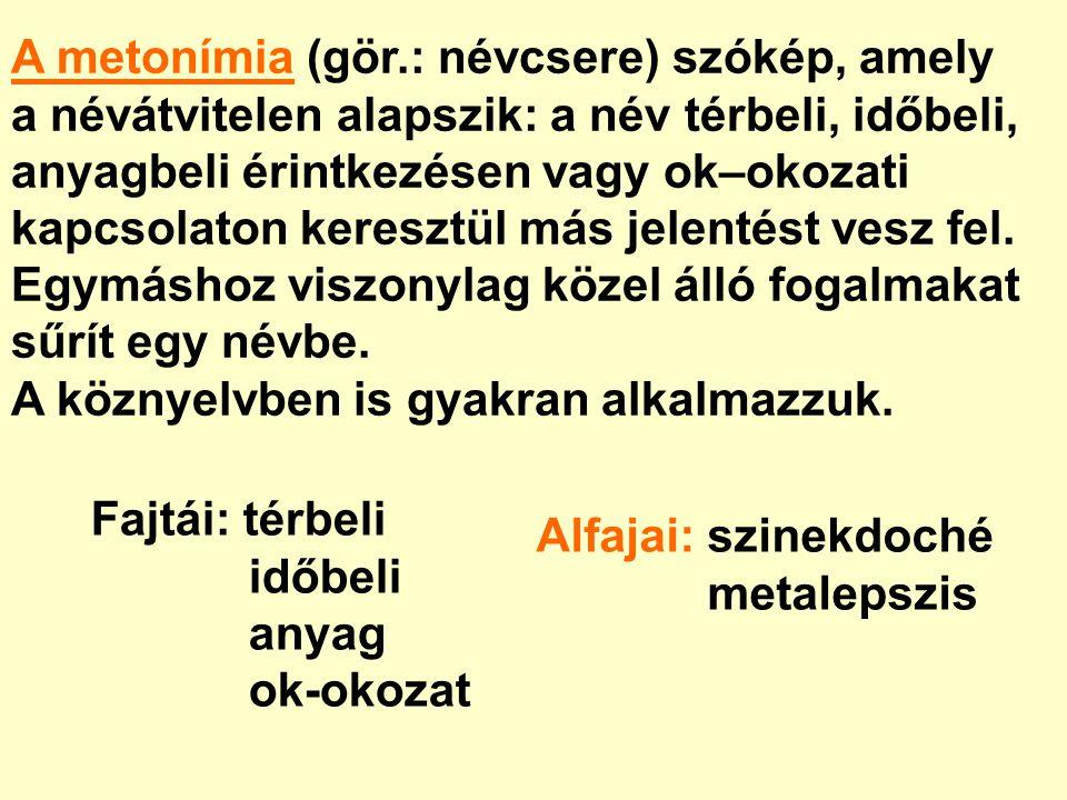 A metonímia (gör.: névcsere) szókép, amely