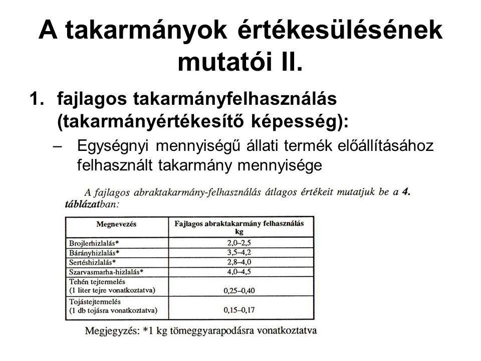 A takarmányok értékesülésének mutatói II.