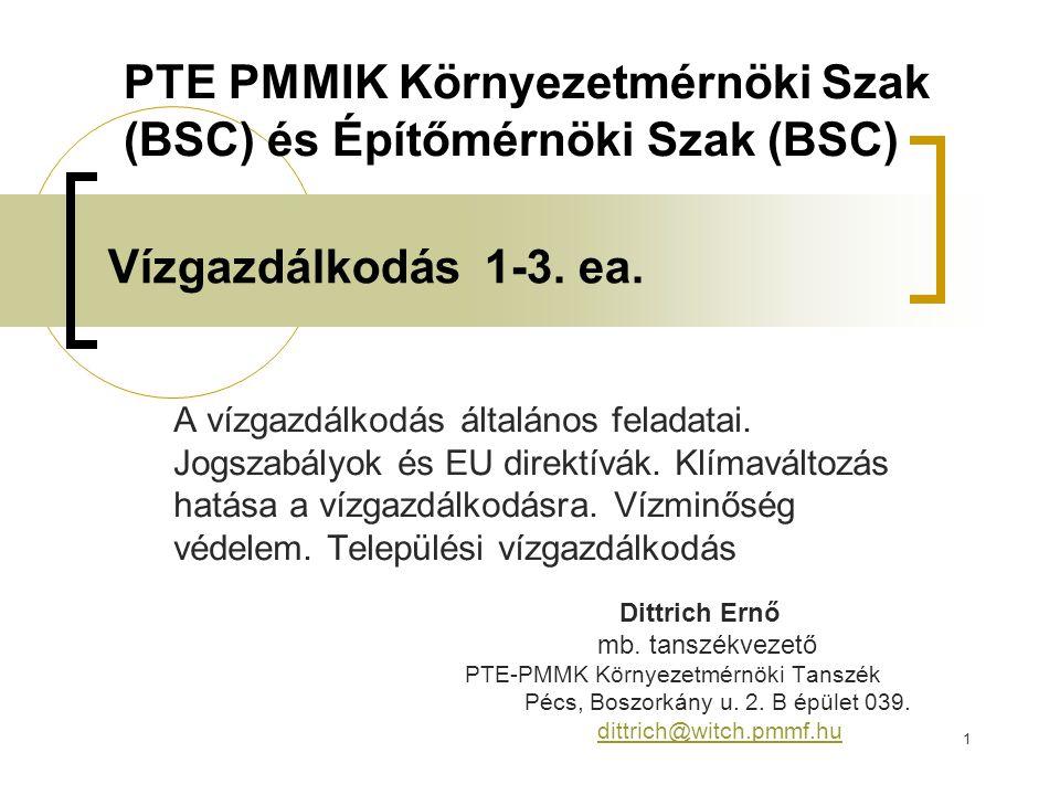 PTE PMMIK Környezetmérnöki Szak (BSC) és Építőmérnöki Szak (BSC)