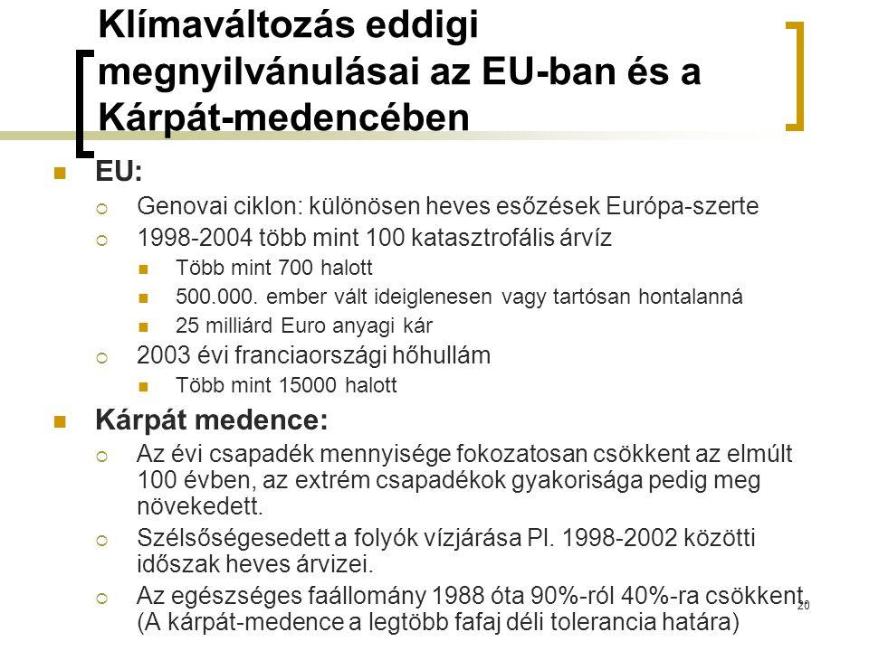 Klímaváltozás eddigi megnyilvánulásai az EU-ban és a Kárpát-medencében