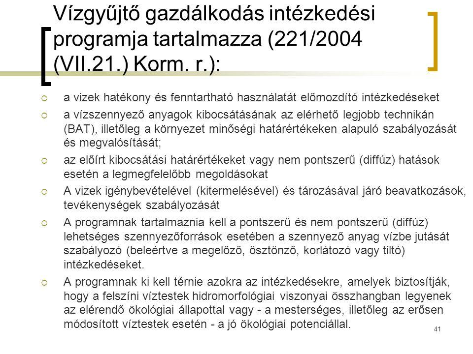 Vízgyűjtő gazdálkodás intézkedési programja tartalmazza (221/2004 (VII