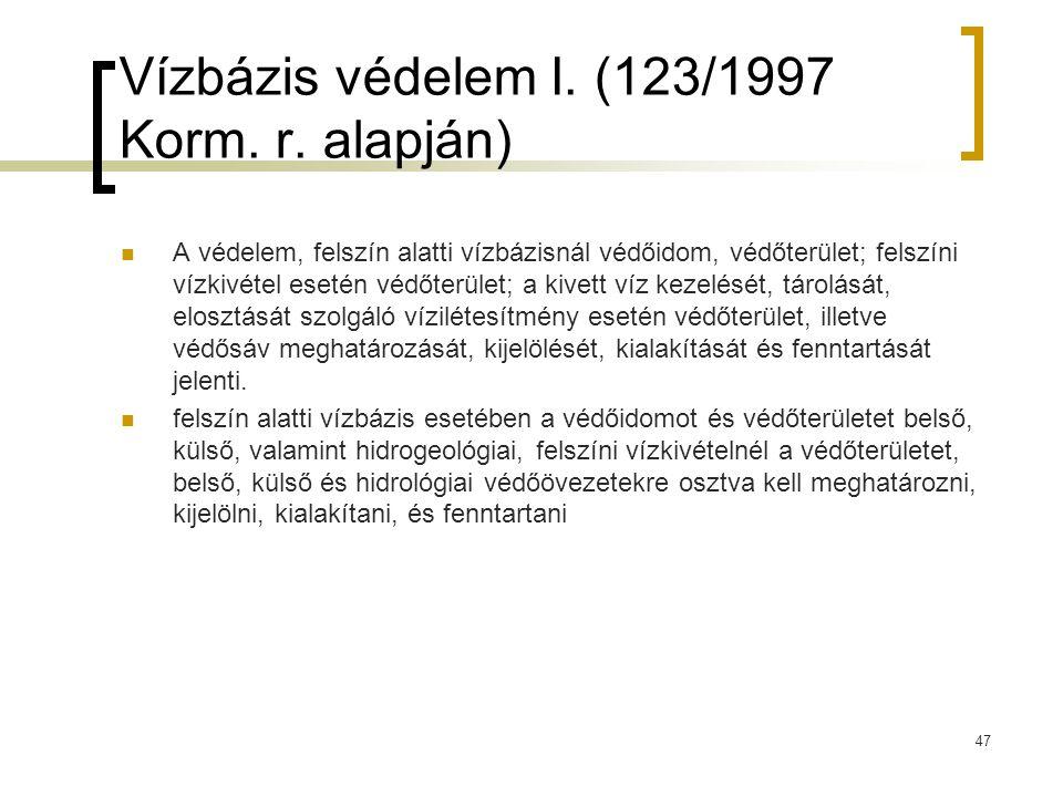 Vízbázis védelem I. (123/1997 Korm. r. alapján)