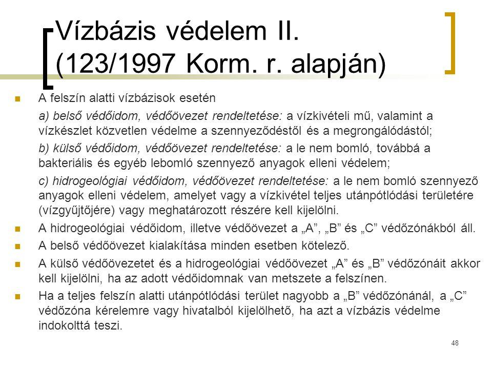Vízbázis védelem II. (123/1997 Korm. r. alapján)