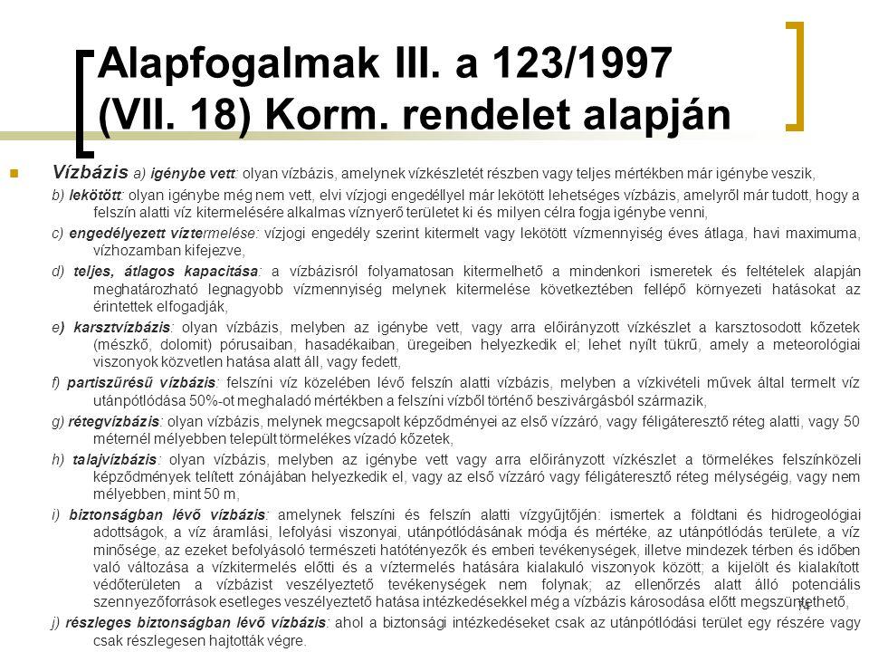 Alapfogalmak III. a 123/1997 (VII. 18) Korm. rendelet alapján