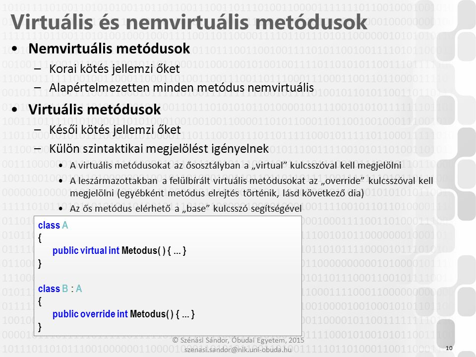 Virtuális és nemvirtuális metódusok