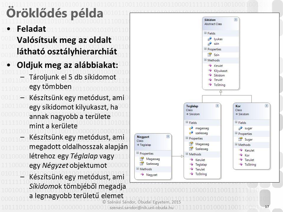 Öröklődés példa Feladat Valósítsuk meg az oldalt látható osztályhierarchiát. Oldjuk meg az alábbiakat: