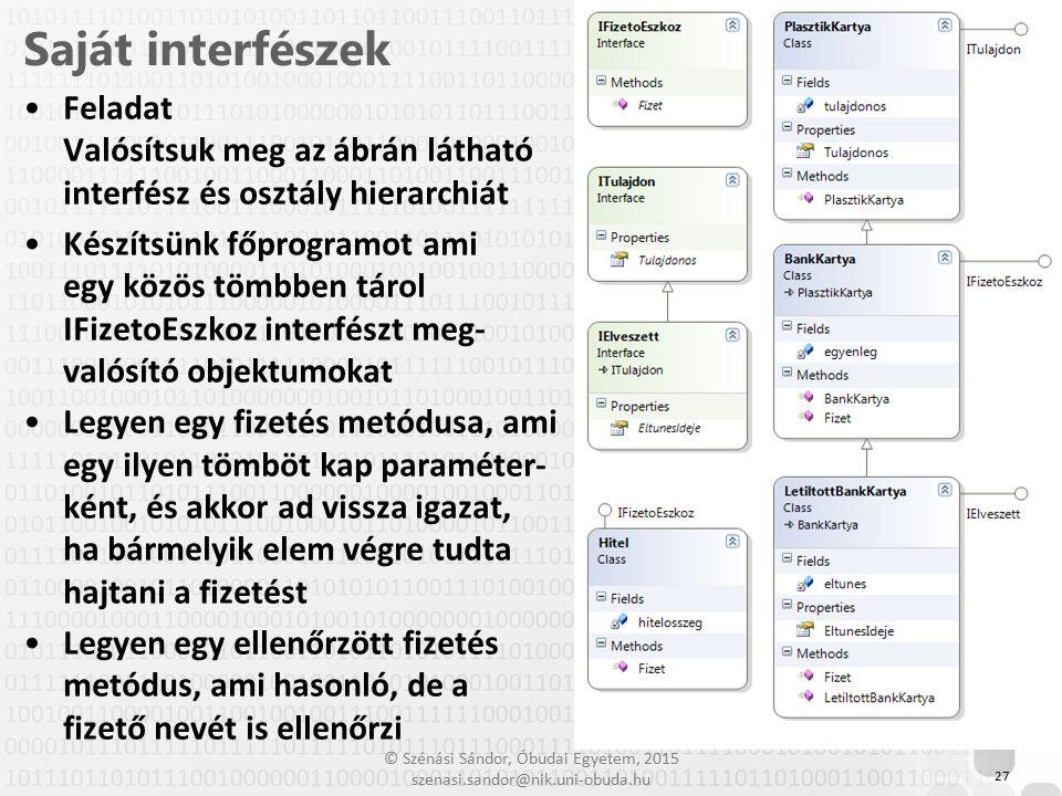 Saját interfészek Feladat Valósítsuk meg az ábrán látható interfész és osztály hierarchiát.