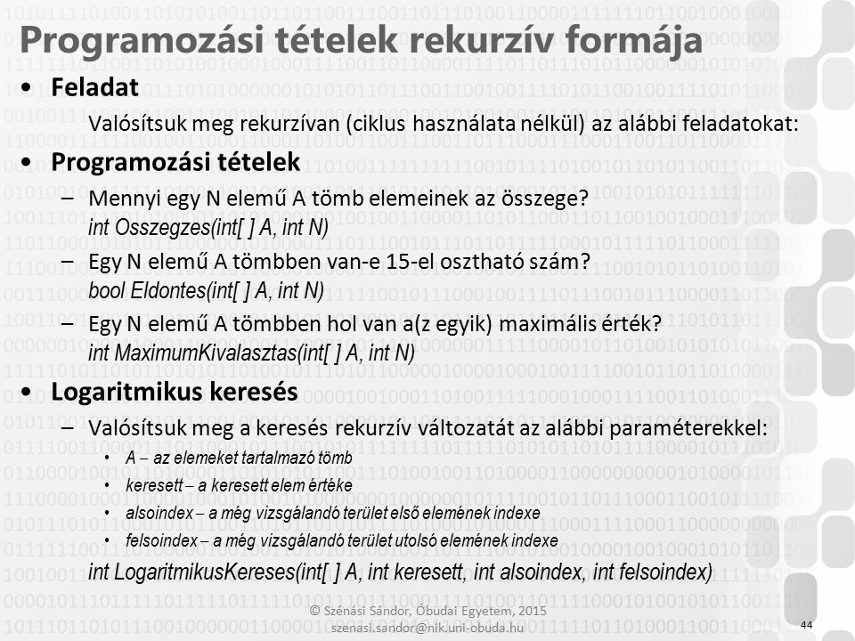 Programozási tételek rekurzív formája