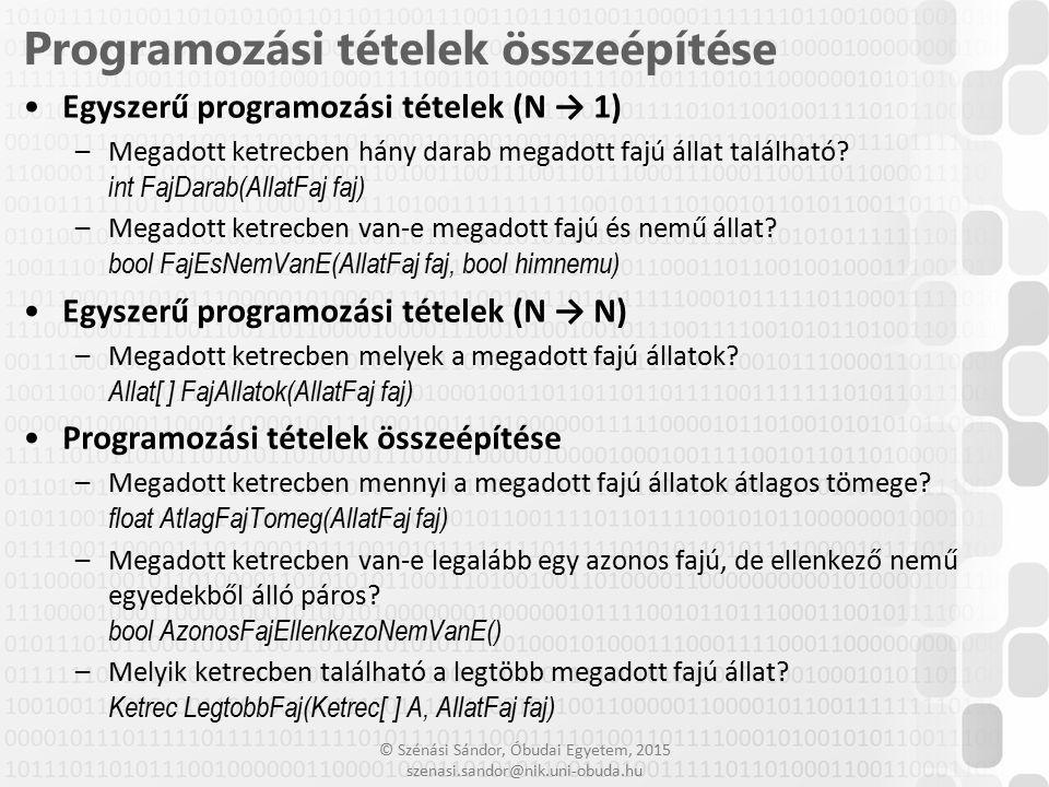 Programozási tételek összeépítése