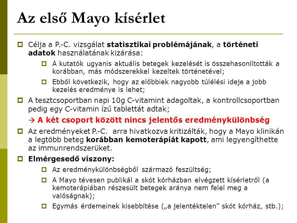 Az első Mayo kísérlet Célja a P.-C. vizsgálat statisztikai problémájának, a történeti adatok használatának kizárása: