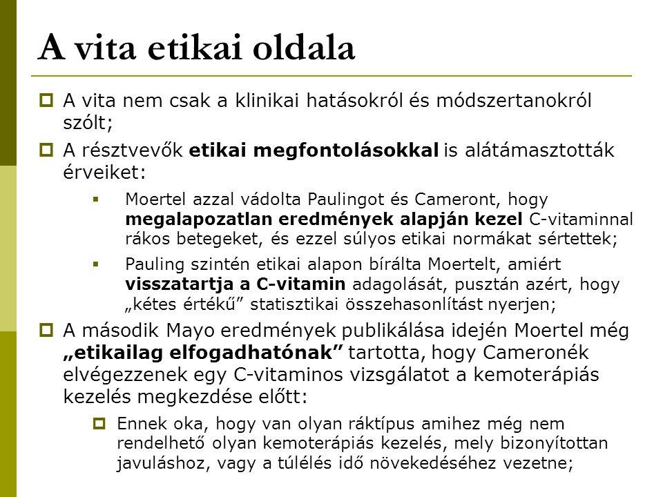 A vita etikai oldala A vita nem csak a klinikai hatásokról és módszertanokról szólt;