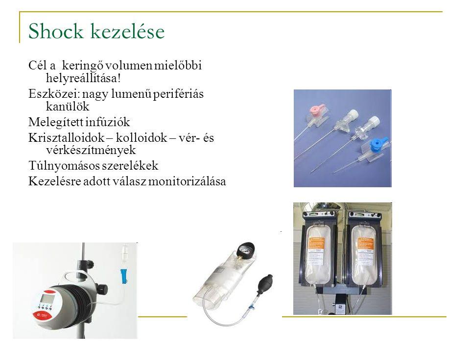 Shock kezelése Cél a keringő volumen mielőbbi helyreállítása!