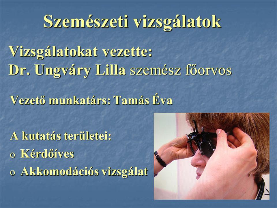 Vizsgálatokat vezette: Dr. Ungváry Lilla szemész főorvos