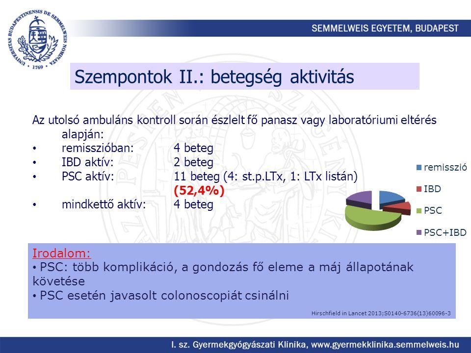 Szempontok II.: betegség aktivitás