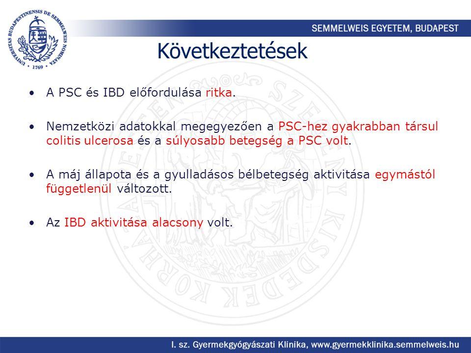 Következtetések A PSC és IBD előfordulása ritka.