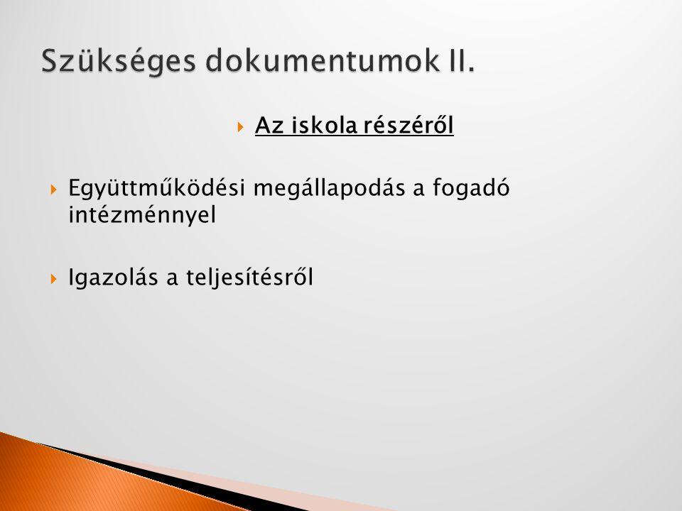 Szükséges dokumentumok II.