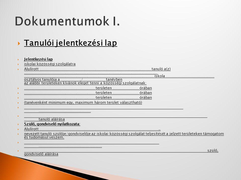 Dokumentumok I. Tanulói jelentkezési lap Jelentkezési lap