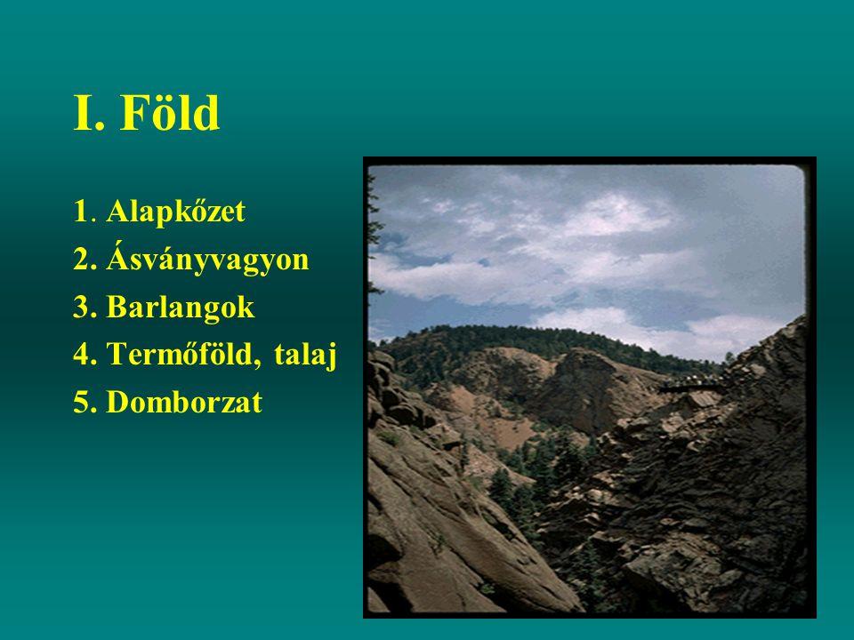 I. Föld 1. Alapkőzet 2. Ásványvagyon 3. Barlangok 4. Termőföld, talaj