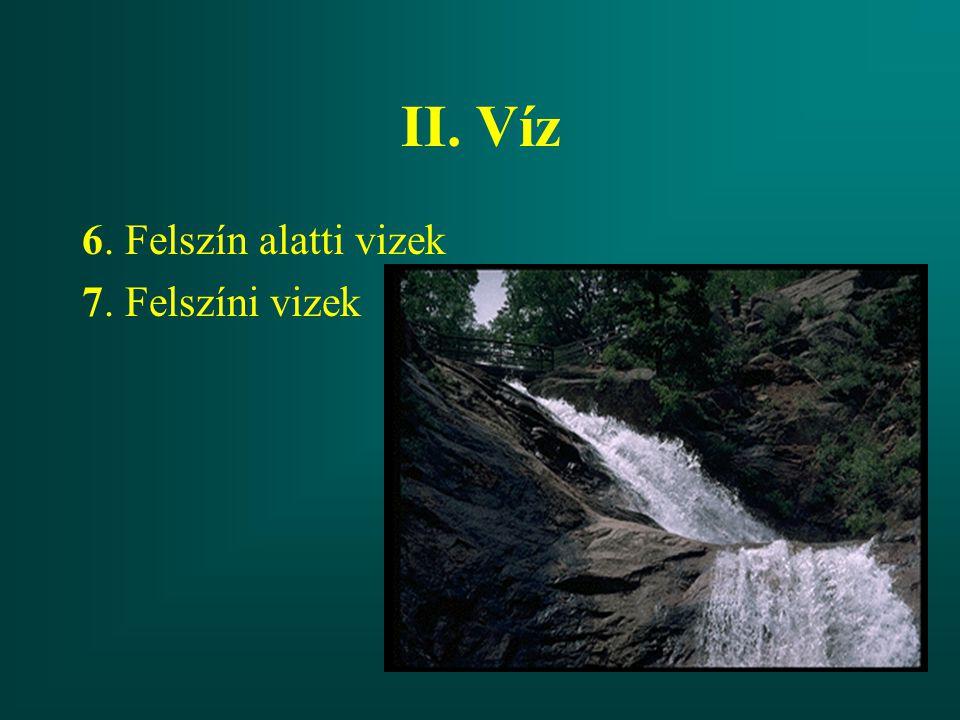 II. Víz 6. Felszín alatti vizek 7. Felszíni vizek