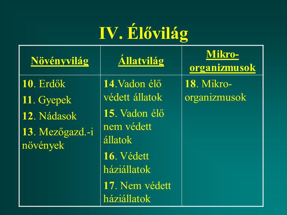 IV. Élővilág Növényvilág Állatvilág Mikro-organizmusok 10. Erdők